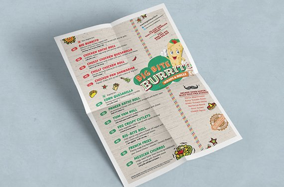 menu design big bite burrito